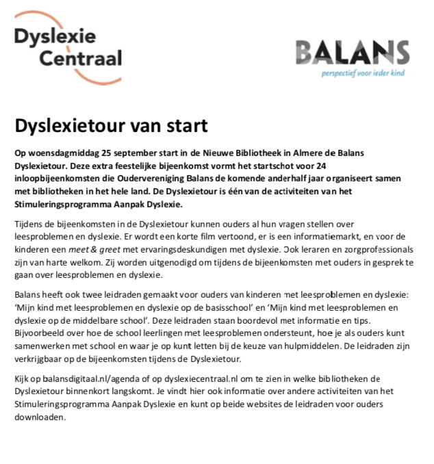 Dyslexietour van start